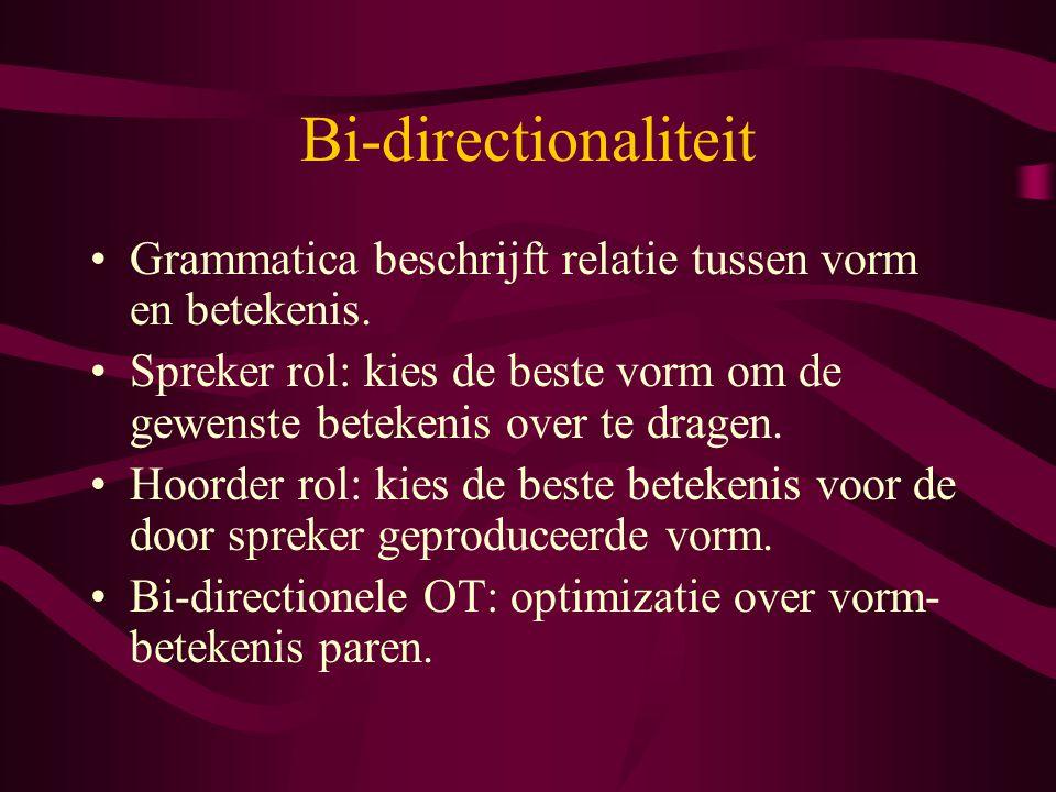 Bi-directionaliteit Grammatica beschrijft relatie tussen vorm en betekenis. Spreker rol: kies de beste vorm om de gewenste betekenis over te dragen.