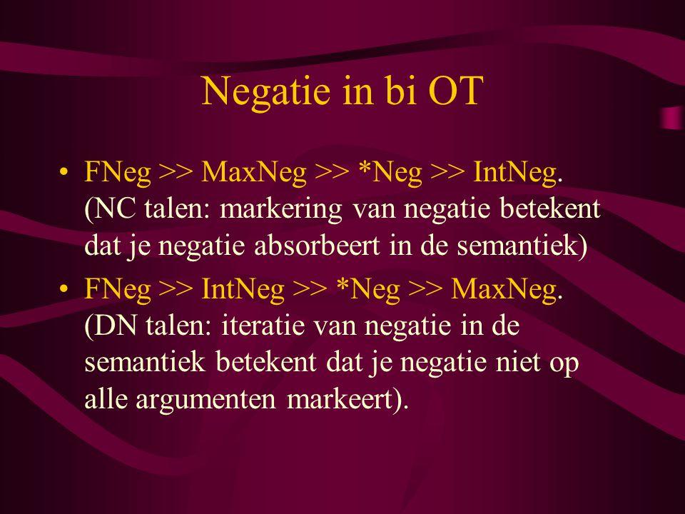 Negatie in bi OT FNeg >> MaxNeg >> *Neg >> IntNeg. (NC talen: markering van negatie betekent dat je negatie absorbeert in de semantiek)