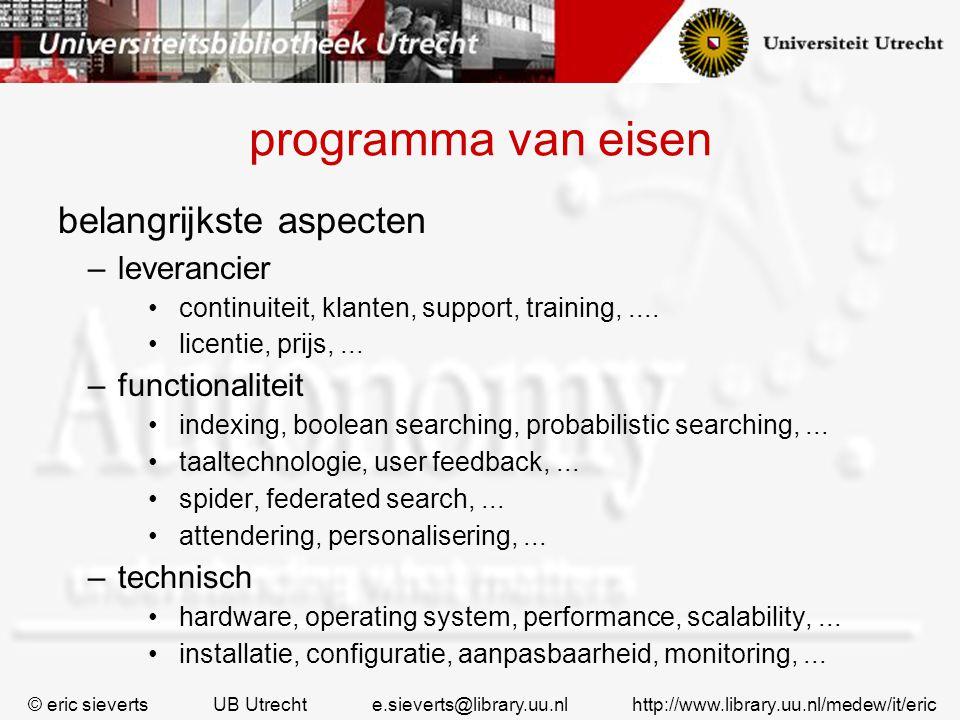 programma van eisen belangrijkste aspecten leverancier functionaliteit