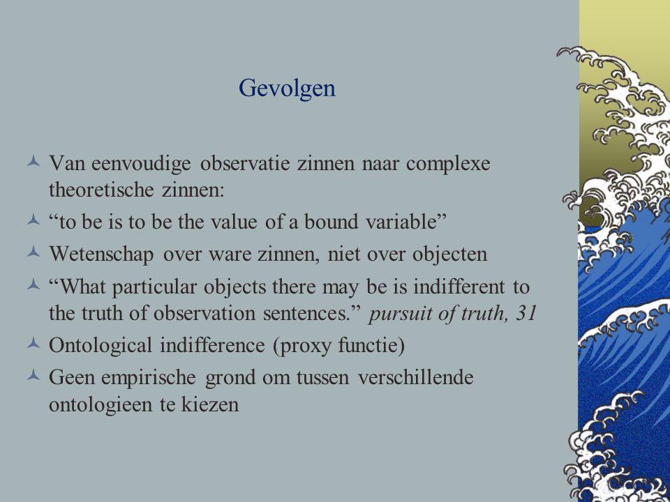 Gevolgen Van eenvoudige observatie zinnen naar complexe theoretische zinnen: to be is to be the value of a bound variable