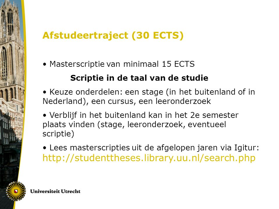 Afstudeertraject (30 ECTS)