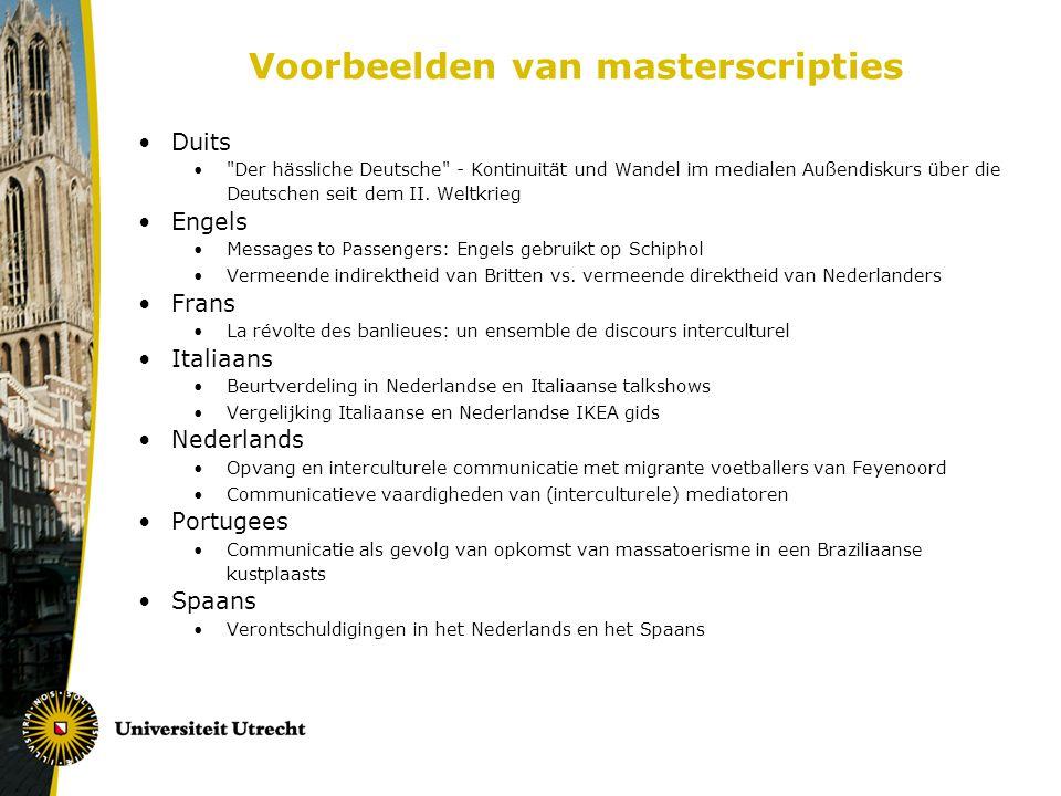 Voorbeelden van masterscripties