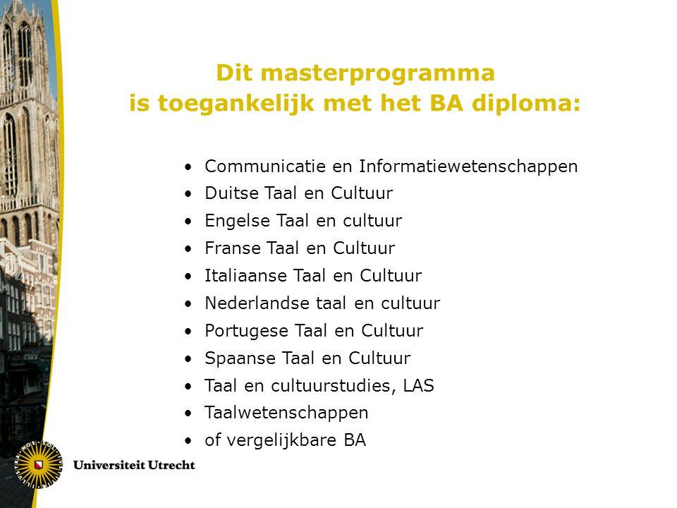 is toegankelijk met het BA diploma: