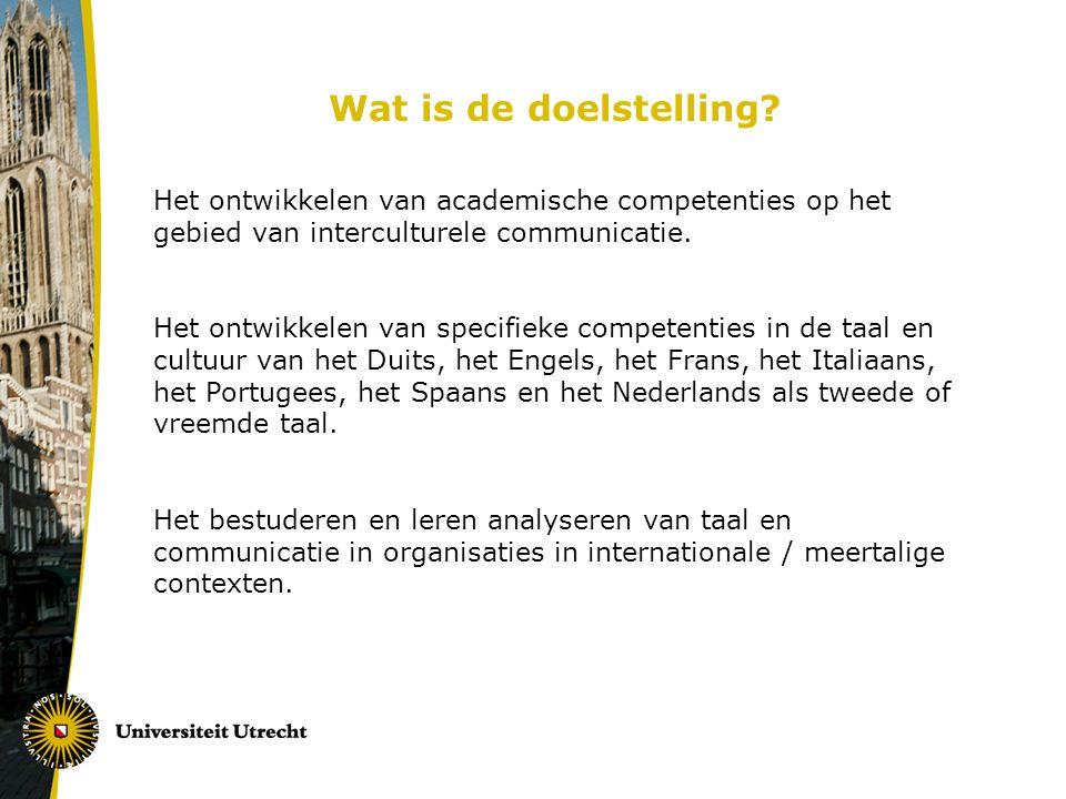 Wat is de doelstelling Het ontwikkelen van academische competenties op het gebied van interculturele communicatie.