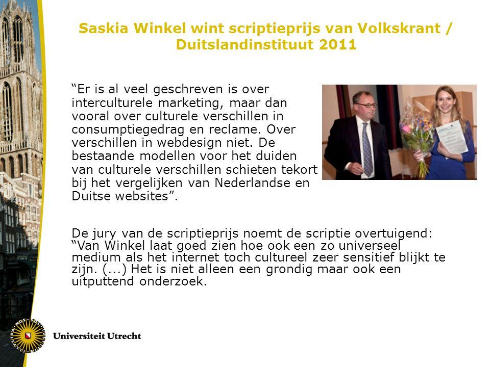 Saskia Winkel wint scriptieprijs van Volkskrant / Duitslandinstituut 2011