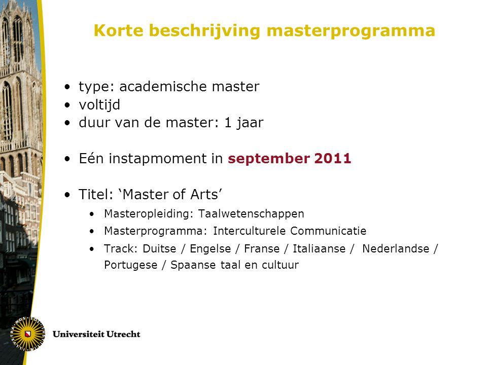 Korte beschrijving masterprogramma