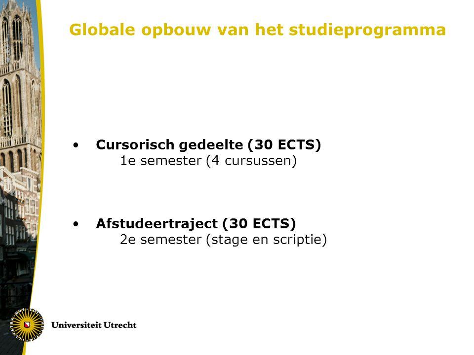 Globale opbouw van het studieprogramma