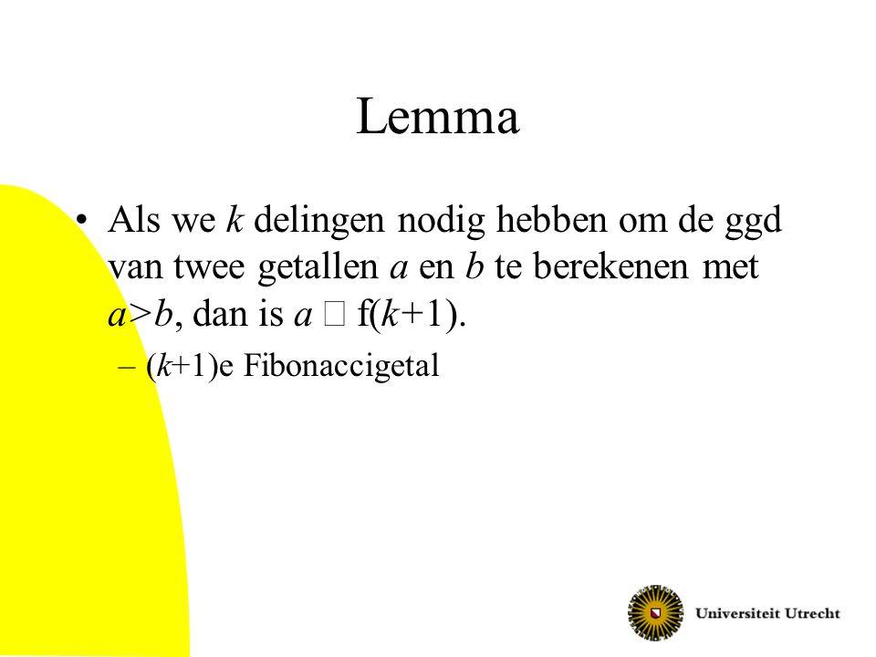 Lemma Als we k delingen nodig hebben om de ggd van twee getallen a en b te berekenen met a>b, dan is a ³ f(k+1).