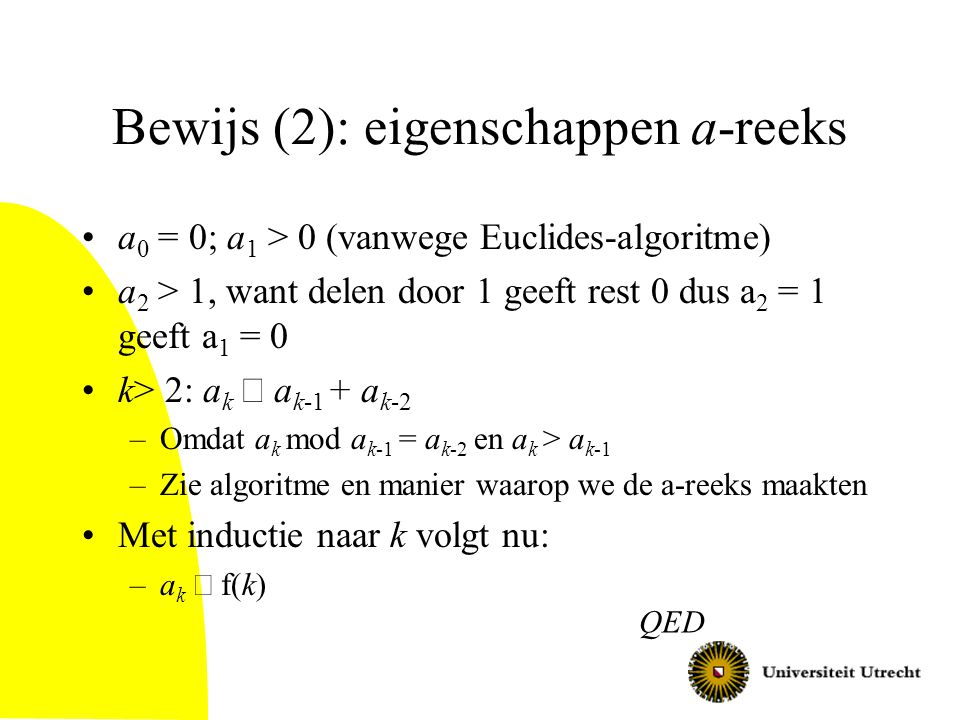 Bewijs (2): eigenschappen a-reeks