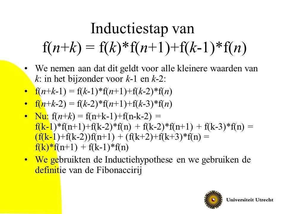 Inductiestap van f(n+k) = f(k)*f(n+1)+f(k-1)*f(n)