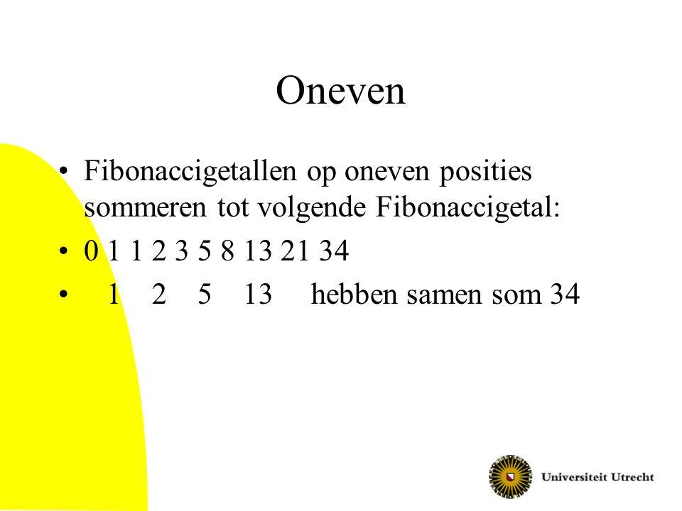 Oneven Fibonaccigetallen op oneven posities sommeren tot volgende Fibonaccigetal: 0 1 1 2 3 5 8 13 21 34.