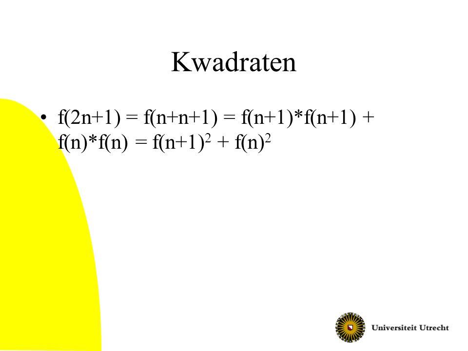 Kwadraten f(2n+1) = f(n+n+1) = f(n+1)*f(n+1) + f(n)*f(n) = f(n+1)2 + f(n)2