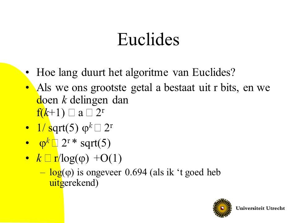Euclides Hoe lang duurt het algoritme van Euclides