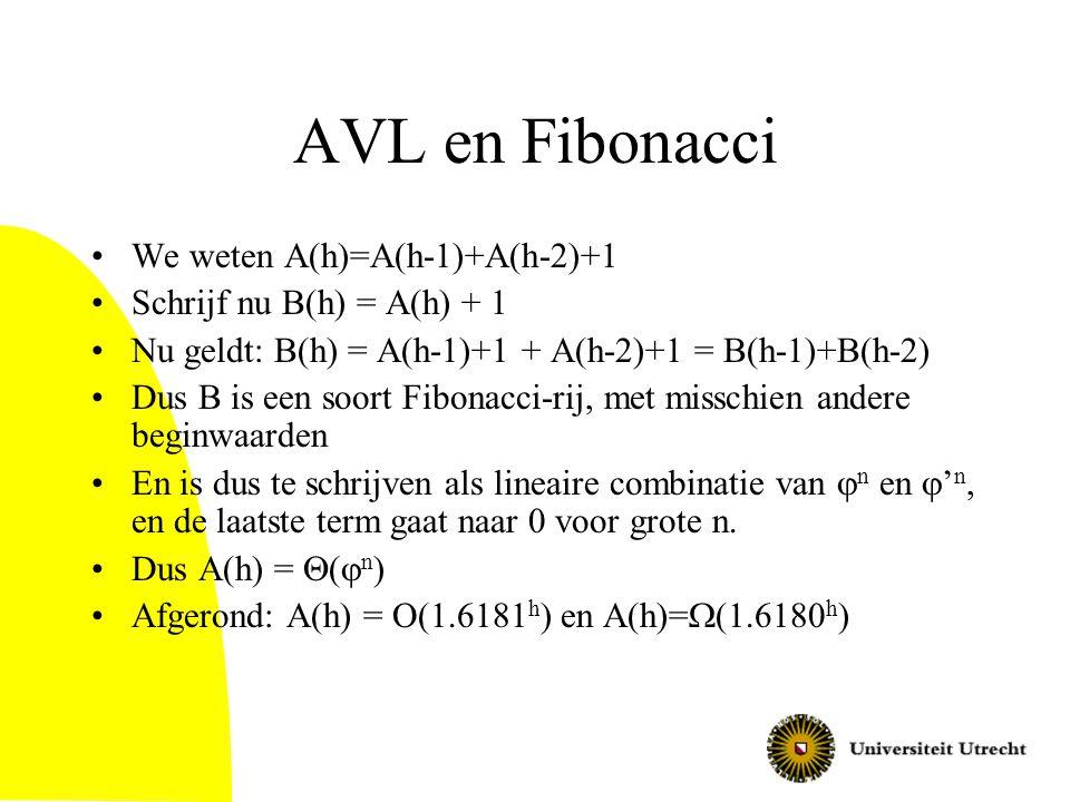 AVL en Fibonacci We weten A(h)=A(h-1)+A(h-2)+1