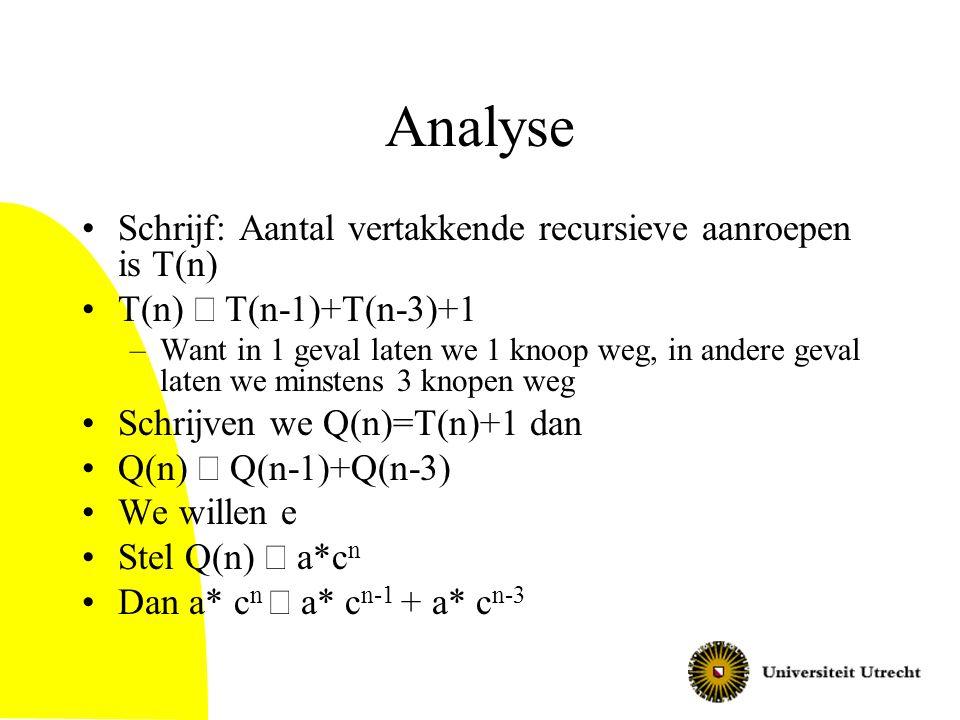 Analyse Schrijf: Aantal vertakkende recursieve aanroepen is T(n)