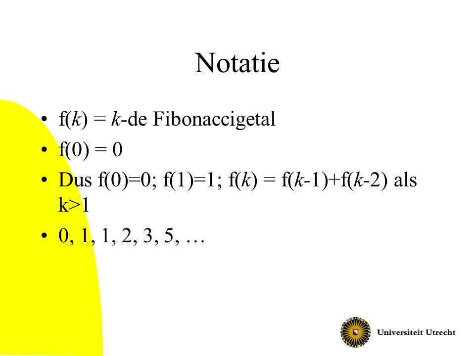 Notatie f(k) = k-de Fibonaccigetal f(0) = 0