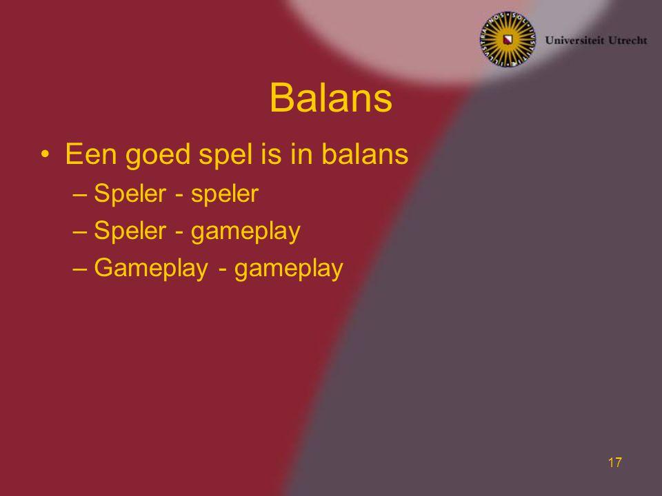 Balans Een goed spel is in balans Speler - speler Speler - gameplay