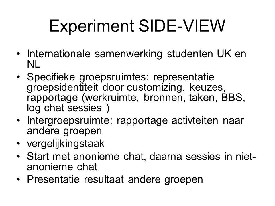 Experiment SIDE-VIEW Internationale samenwerking studenten UK en NL