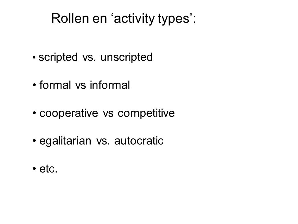 Rollen en 'activity types':