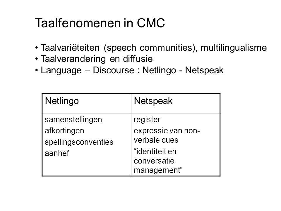 Taalfenomenen in CMC Taalvariëteiten (speech communities), multilingualisme. Taalverandering en diffusie.