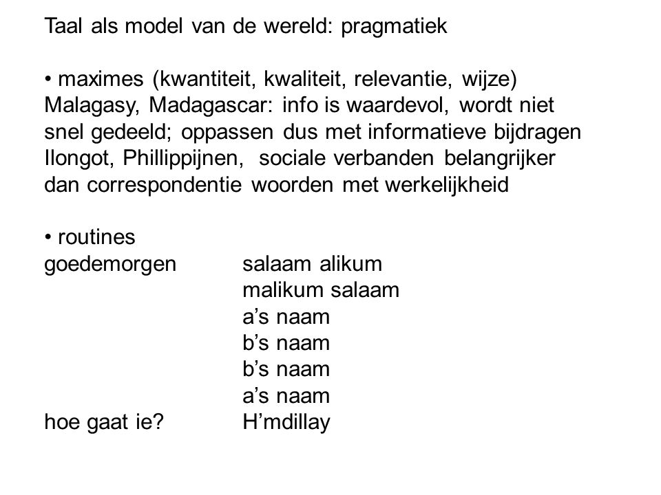 Taal als model van de wereld: pragmatiek