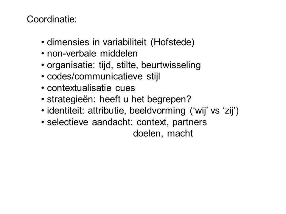 Coordinatie: dimensies in variabiliteit (Hofstede) non-verbale middelen. organisatie: tijd, stilte, beurtwisseling.