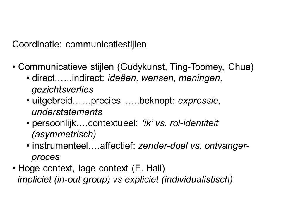 Coordinatie: communicatiestijlen