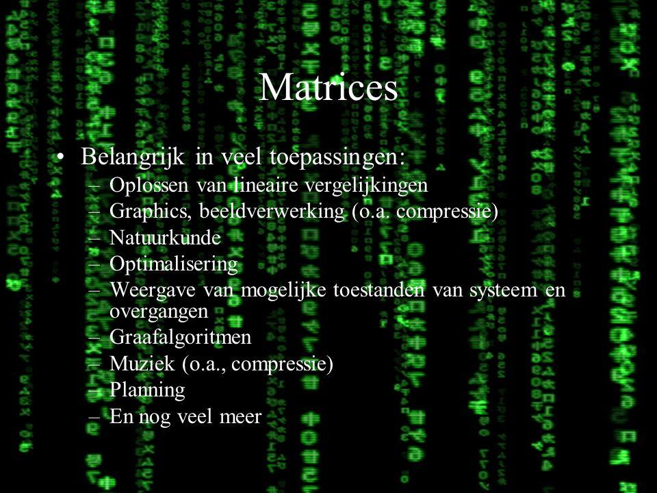 Matrices Belangrijk in veel toepassingen: