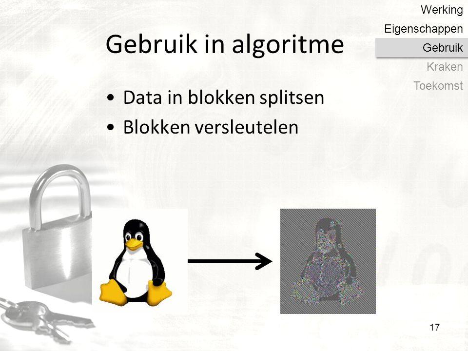 Gebruik in algoritme Data in blokken splitsen Blokken versleutelen