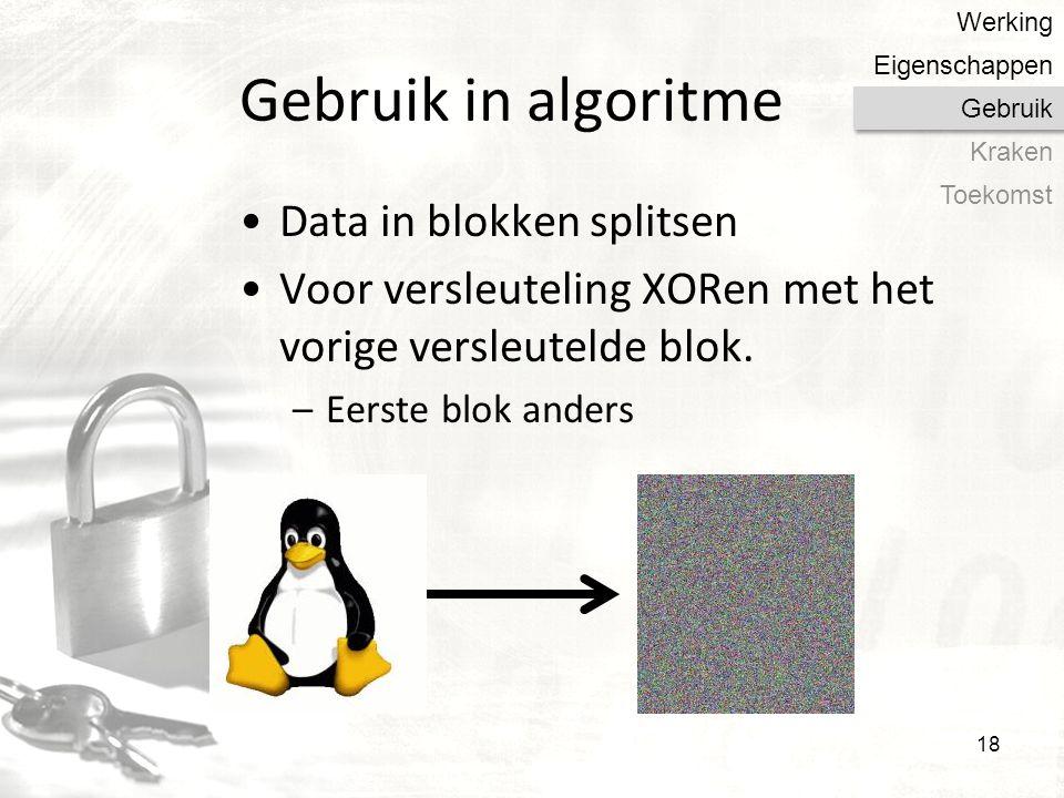 Gebruik in algoritme Data in blokken splitsen