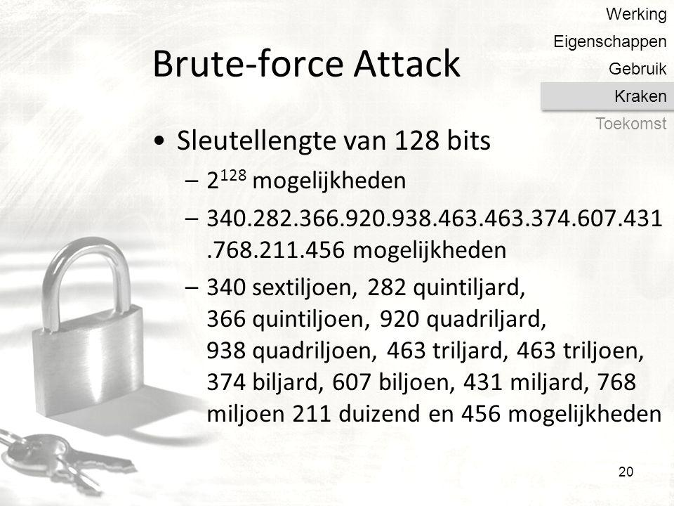 Brute-force Attack Sleutellengte van 128 bits 2128 mogelijkheden