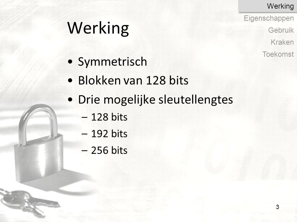 Werking Symmetrisch Blokken van 128 bits Drie mogelijke sleutellengtes