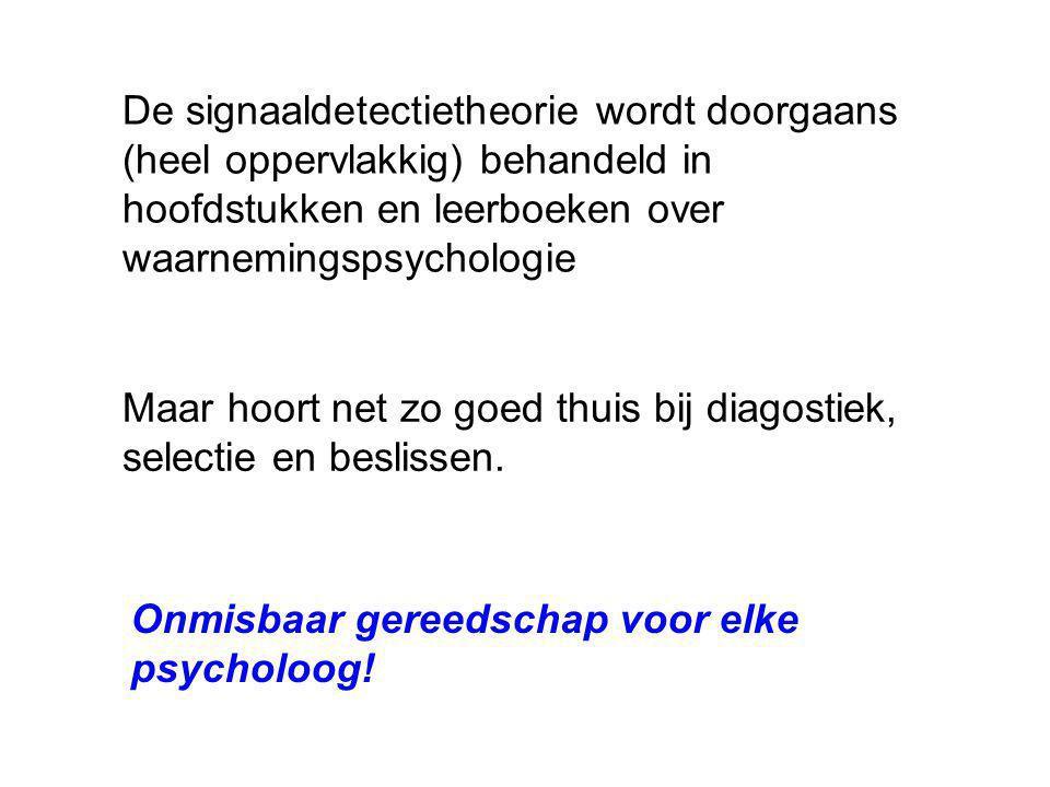 De signaaldetectietheorie wordt doorgaans (heel oppervlakkig) behandeld in hoofdstukken en leerboeken over waarnemingspsychologie