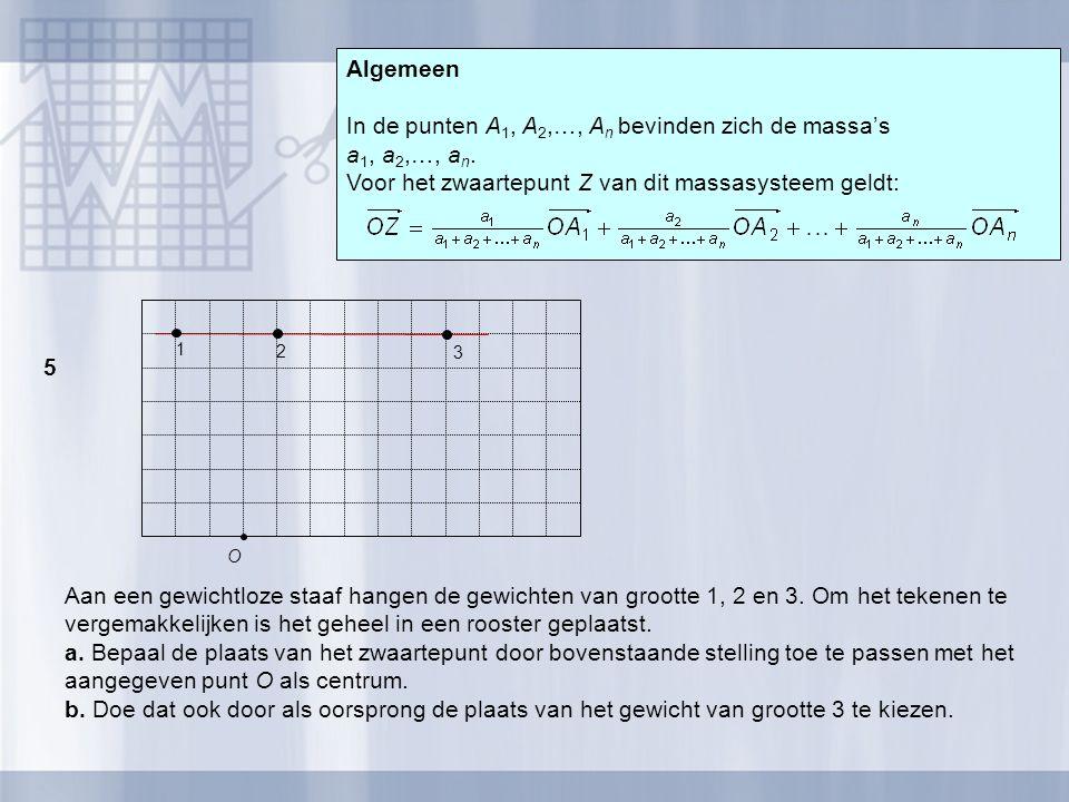 In de punten A1, A2,…, An bevinden zich de massa's a1, a2,…, an.
