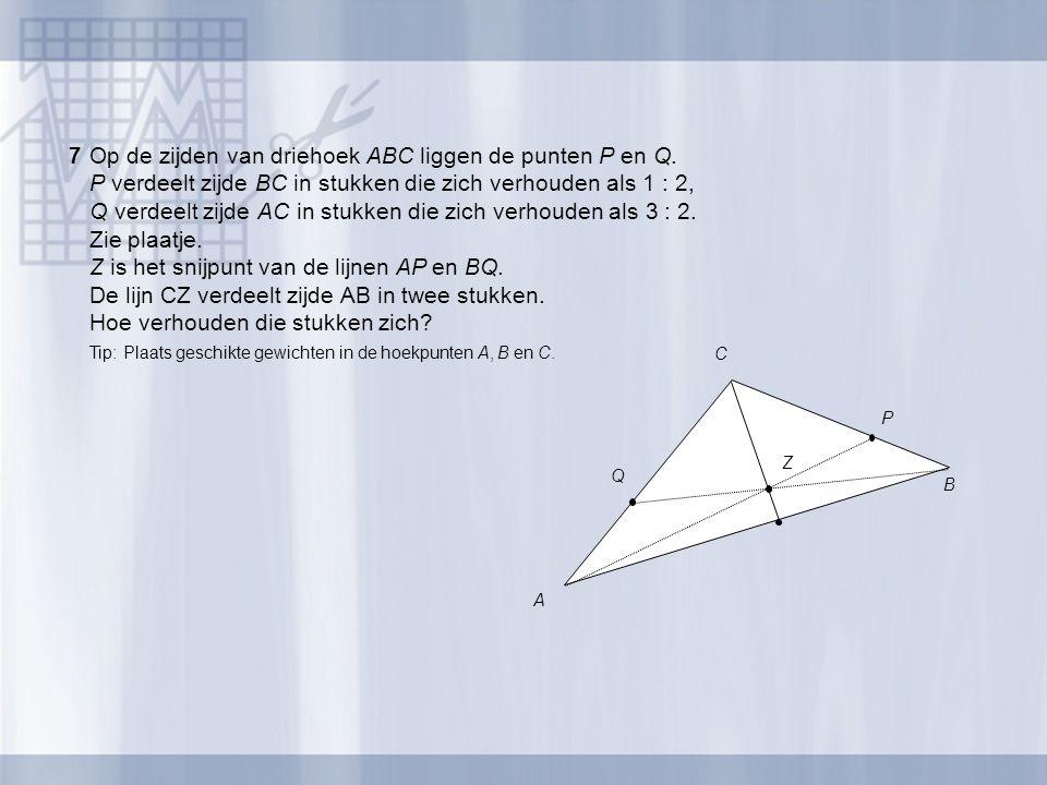 7 Op de zijden van driehoek ABC liggen de punten P en Q.