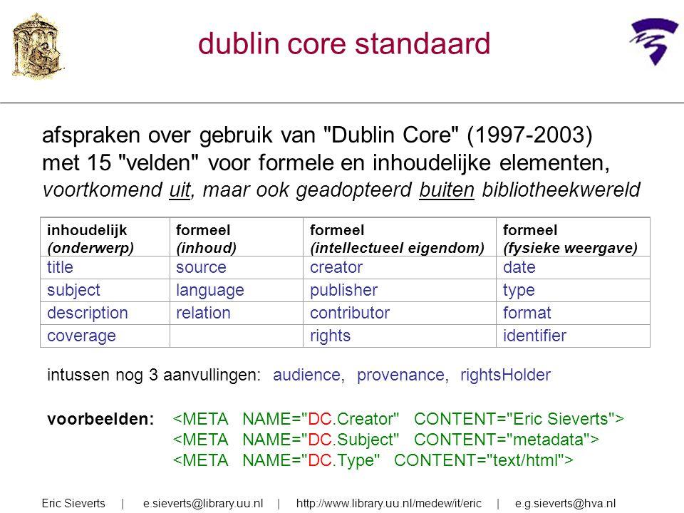 dublin core standaard afspraken over gebruik van Dublin Core (1997-2003) met 15 velden voor formele en inhoudelijke elementen,