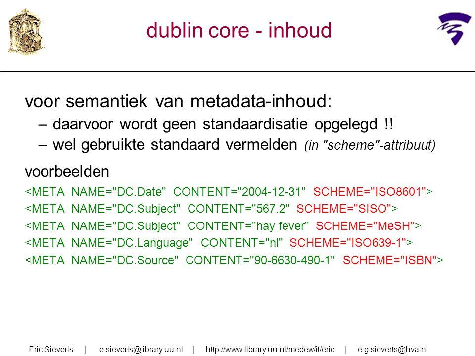dublin core - inhoud voor semantiek van metadata-inhoud: