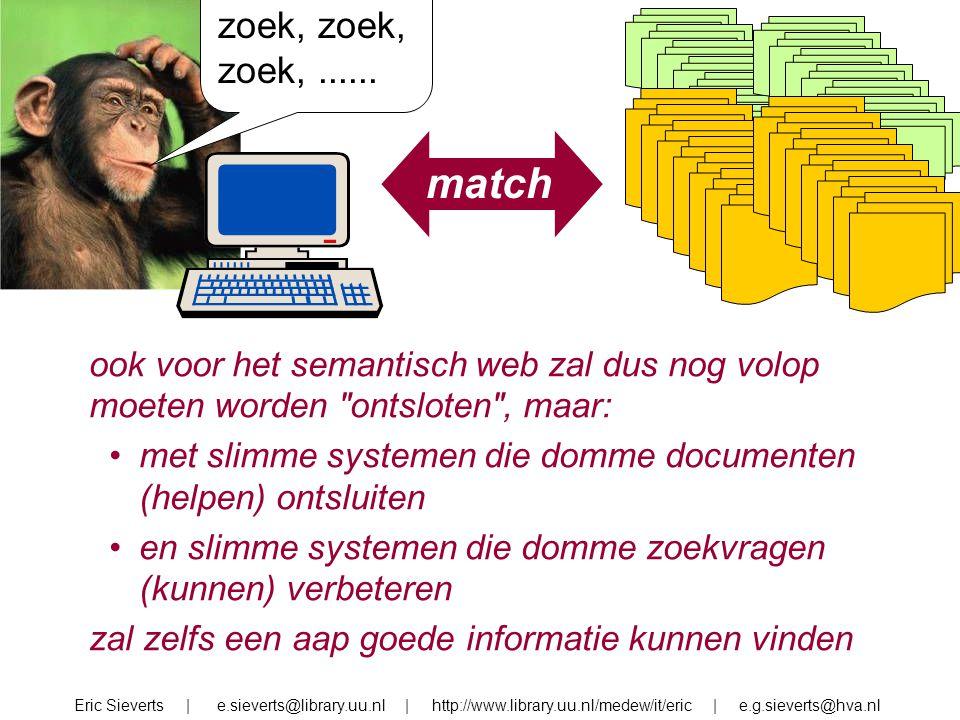 zoek, zoek, zoek, ...... match. ook voor het semantisch web zal dus nog volop moeten worden ontsloten , maar: