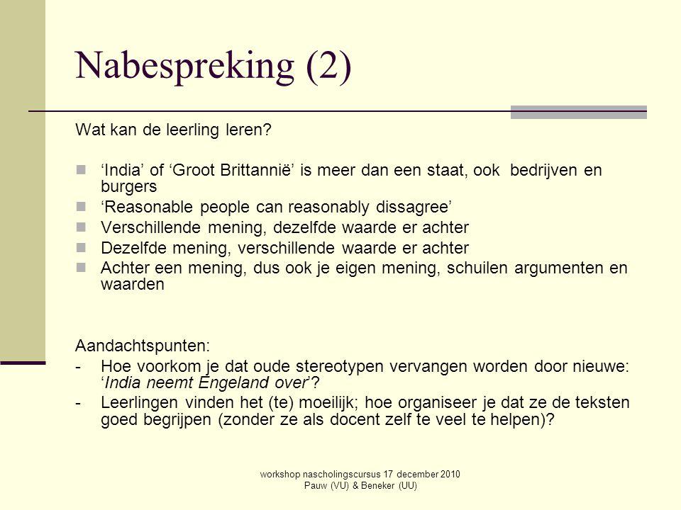 workshop nascholingscursus 17 december 2010 Pauw (VU) & Beneker (UU)