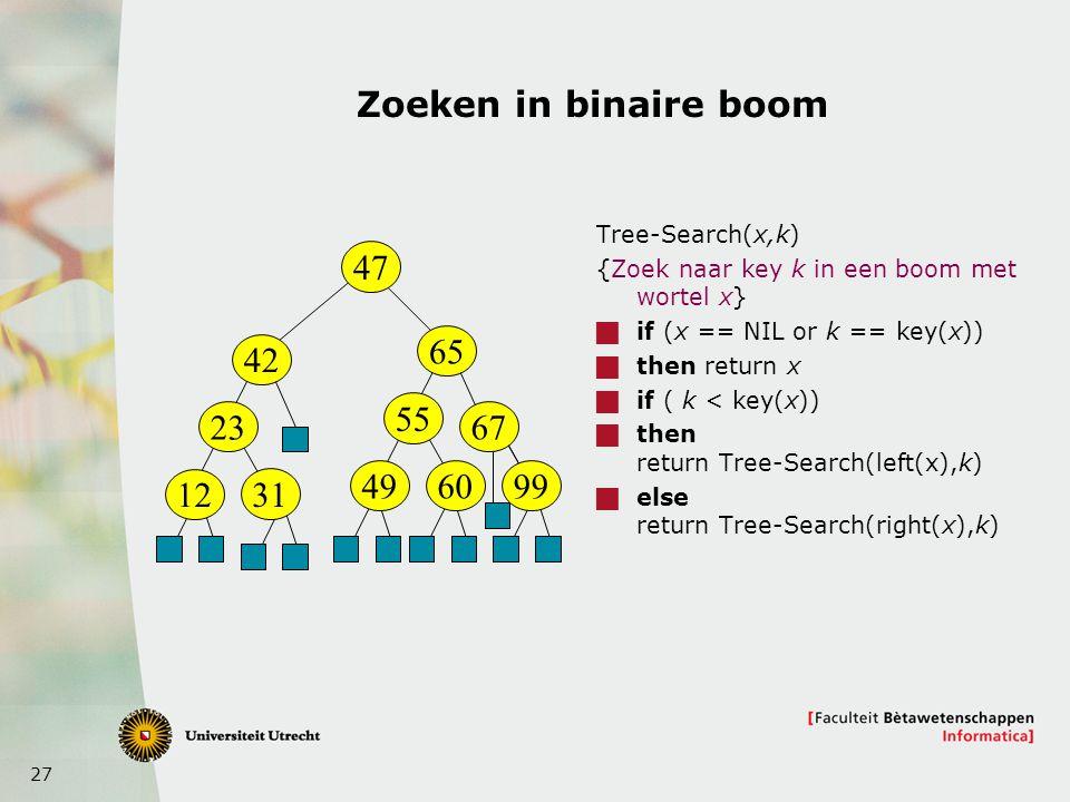 Zoeken in binaire boom Tree-Search(x,k) {Zoek naar key k in een boom met wortel x} if (x == NIL or k == key(x))