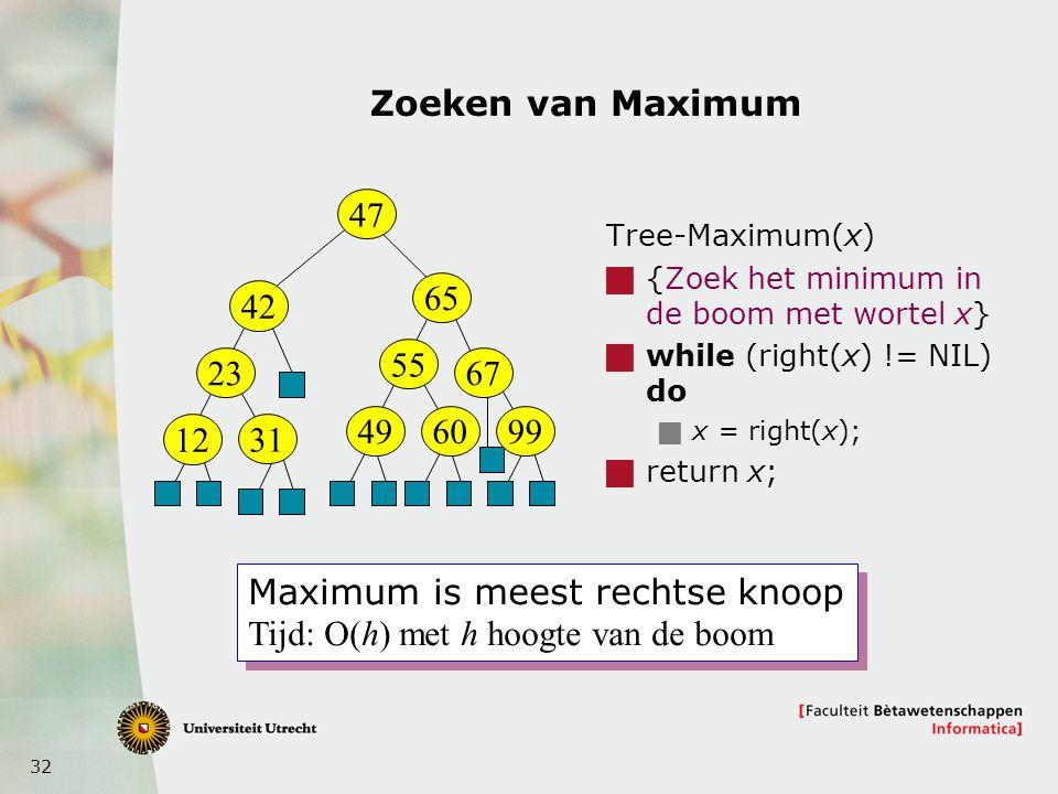 Maximum is meest rechtse knoop Tijd: O(h) met h hoogte van de boom