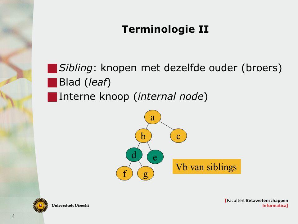 Terminologie II Sibling: knopen met dezelfde ouder (broers) Blad (leaf) Interne knoop (internal node)
