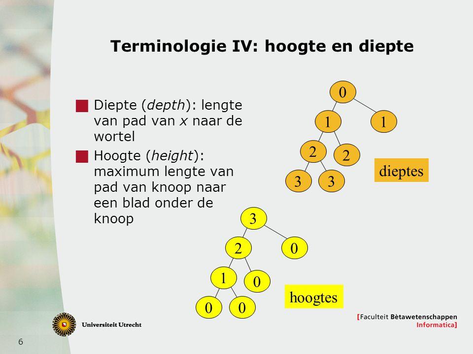 Terminologie IV: hoogte en diepte