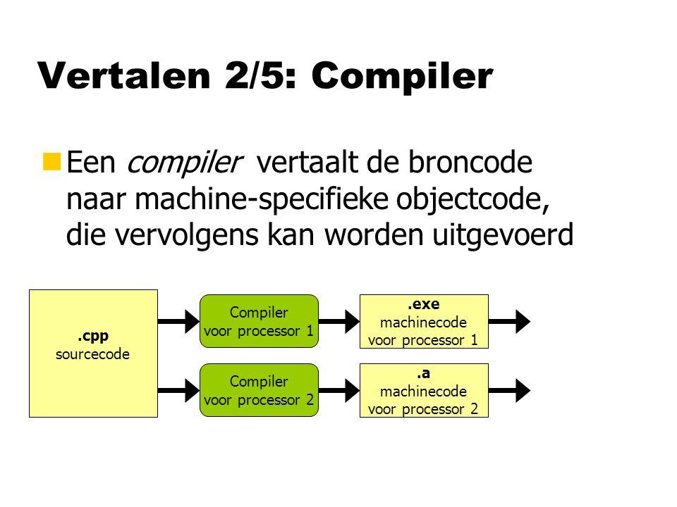 Vertalen 2/5: Compiler Een compiler vertaalt de broncode naar machine-specifieke objectcode, die vervolgens kan worden uitgevoerd.