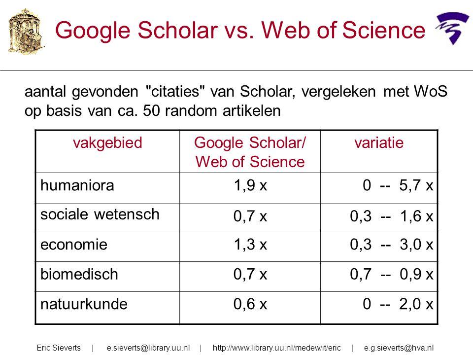 Google Scholar vs. Web of Science