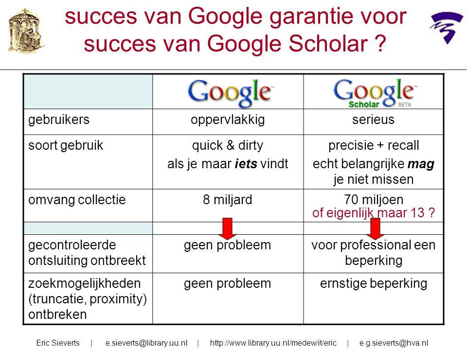 succes van Google garantie voor succes van Google Scholar