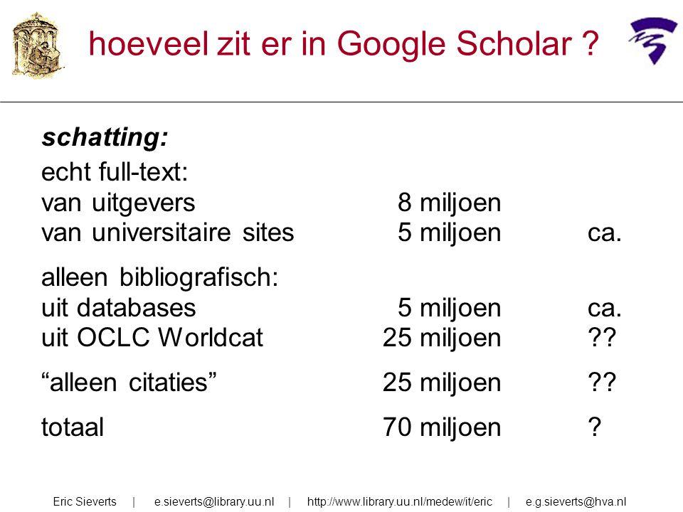 hoeveel zit er in Google Scholar