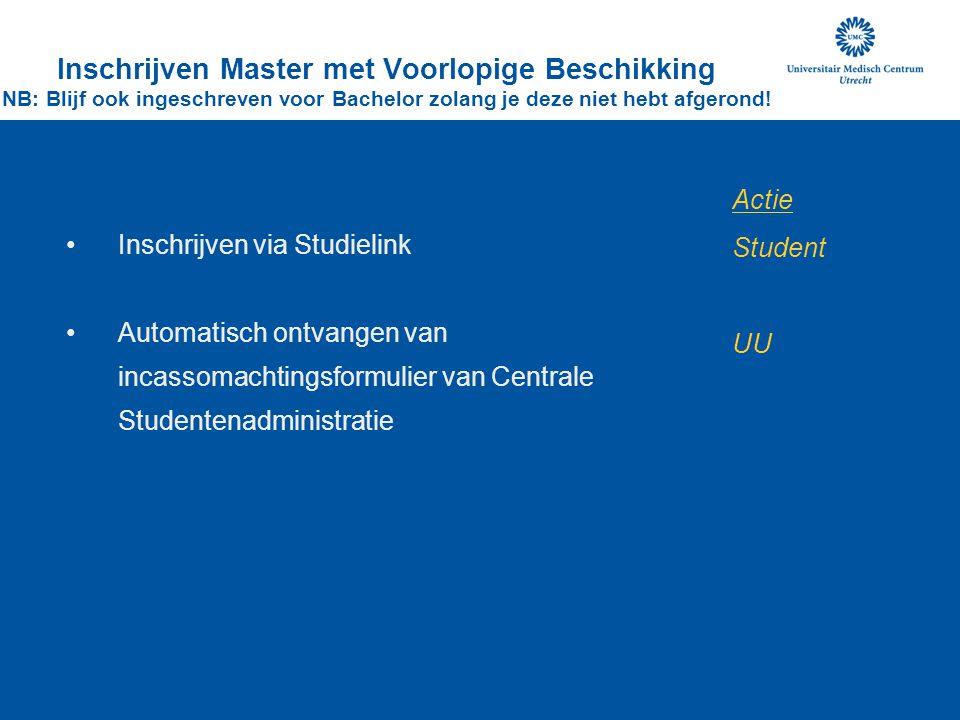 Inschrijven Master met Voorlopige Beschikking NB: Blijf ook ingeschreven voor Bachelor zolang je deze niet hebt afgerond!