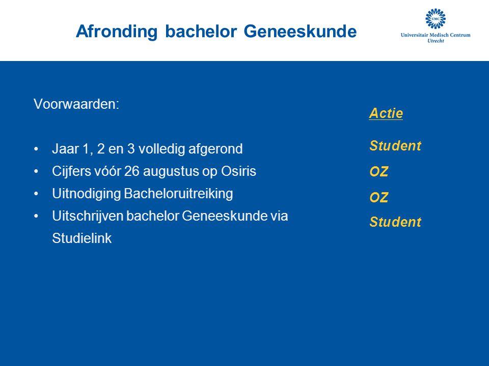 Afronding bachelor Geneeskunde