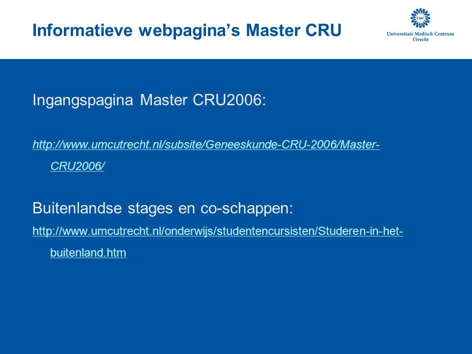 Informatieve webpagina's Master CRU